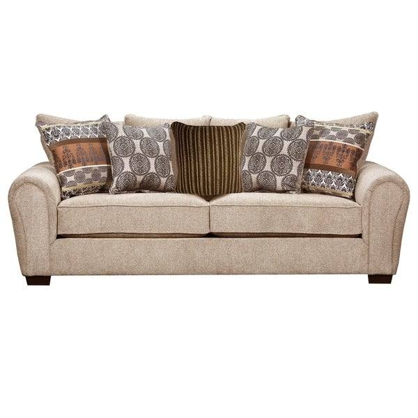 shop lane comfort plush outback taupe queen sleeper sofa free rh overstock com