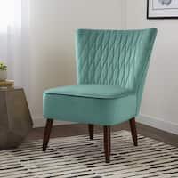 Carson Carrington Mid-century Rhombus Light Aqua Velvet Dining Chair