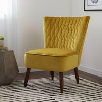 Carson Carrington Mid-Century Rhombus Velvet Citron Dining Chair