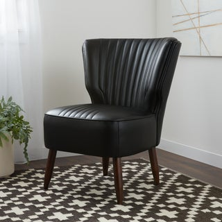 Stone and Stripes Mid-century Vette Modern Black Leather Chair