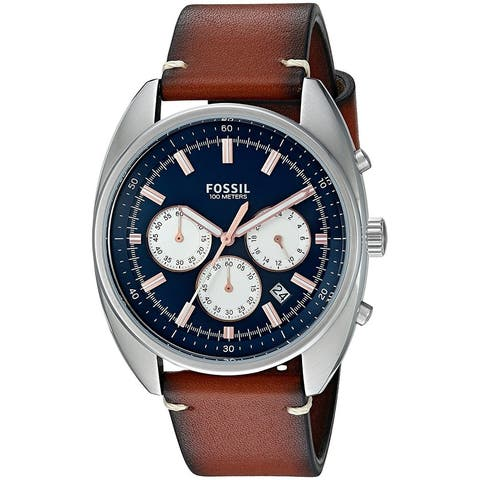 Fossil Men's Drifter Chronograph Blue Dial Brown Leather Watch