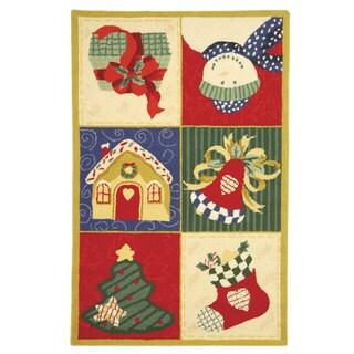 """Safavieh Hand-hooked Holiday Cheer White/ Multi Wool Runner (2'6 x 4') - 2'6"""" x 4'"""