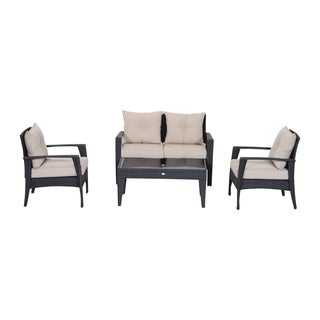 Outsunny 4 Piece Outdoor Patio Rattan Wicker Cushioned Chair and Loveseat Furniture Set