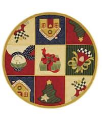 Safavieh Hand-hooked Holiday Cheer White/ Multi Wool Rug (5'6 Round) - 5'6 Round