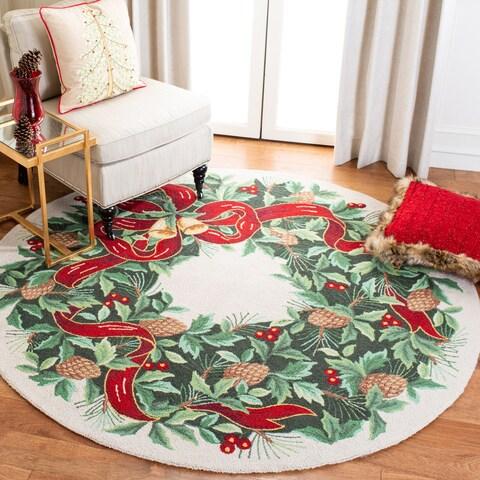 Safavieh Handmade Holiday Wreath Wool Rug - 5' x 5' round