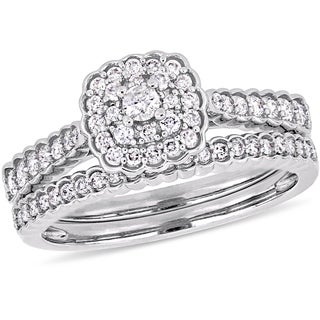 Miadora Signature Collection 14k White Gold 1/2ct TDW Diamond Square Halo Bridal Ring Set