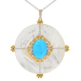 Michael Valitutti Palladium Silver Round White Shell and Kingman Turquoise Medallion Pendant