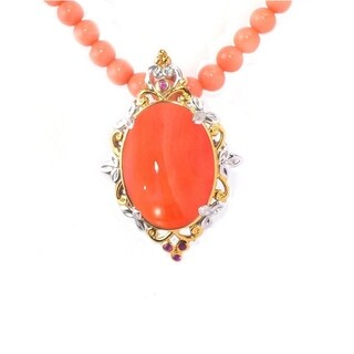 Michael Valitutti Palladium Silver Carved Salmon Coral and Pink Sapphire Beaded Necklace