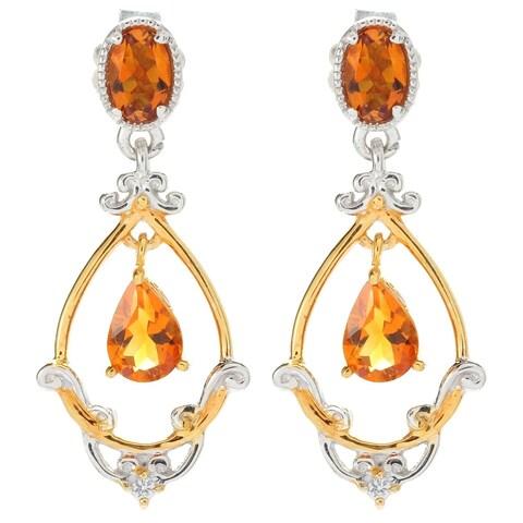Michael Valitutti Palladium Silver Madeira Citrine and White Sapphire Dangle Earrings