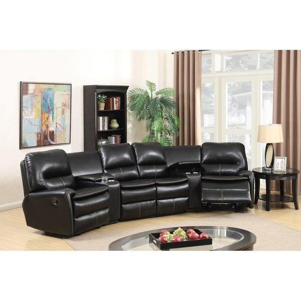 Shop Best Master Furniture Black Leather Reclining