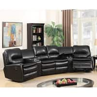 Best Master Furniture Black Leather Reclining Sectional
