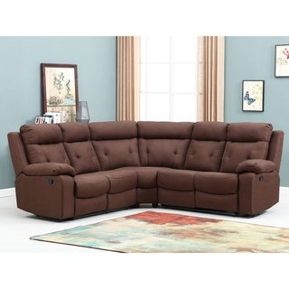 Brown Microfiber Upholstered Living Room Sectional