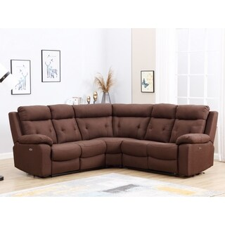 Brown Microfiber Upholstered Power Reclining Sectional