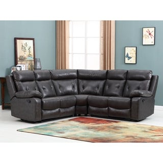 Grey Faux Leather Upholstered Living Room Sectional