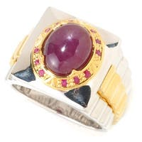 Michael Valitutti Palladium Silver Men's Six-Ray Star Ruby and Ruby Ring