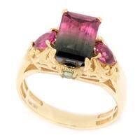 Michael Valitutti 14K Yellow Gold Emerald Cut Pink, Green and Bi-Color Tourmaline Ring