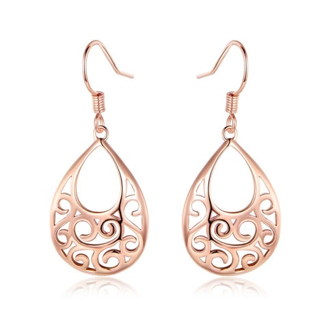 Rose Gold Plated Filigree Cut Out Drop Earrings