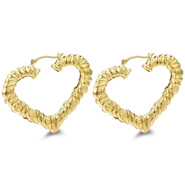 Gold Plated Heart Shape Bamboo Hoop Earring