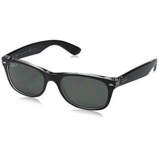 Ray-Ban RB2132 New Wayfarer Black/Transparent Frame Polarized Green 55mm Lens Sunglasses