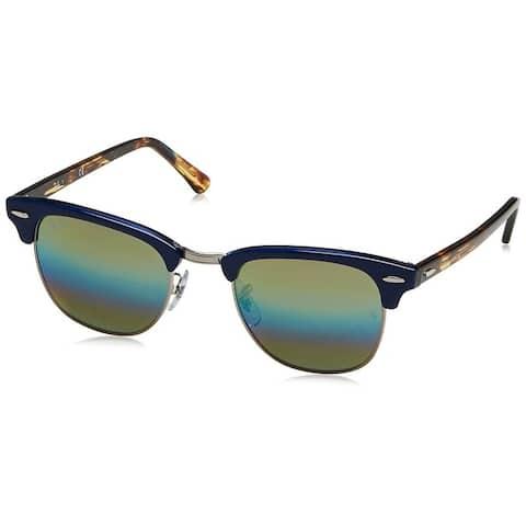 Ray-Ban RB3016 Clubmaster Blue/Tortoise Frame Gold Rainbow Flash 51mm Lens Sunglasses
