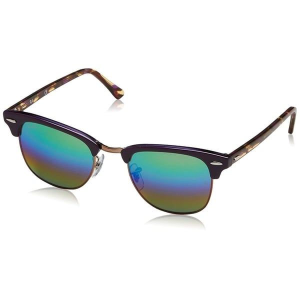 abc4530ac8 Ray-Ban RB3016 Clubmaster Violet   Tortoise Frame Green Rainbow 49mm Lens  Sunglasses