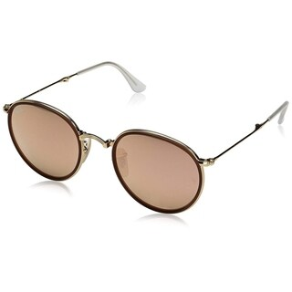 Ray-Ban RB3517 Round Folding Gold Frame Copper Flash 48mm Lens Sunglasses