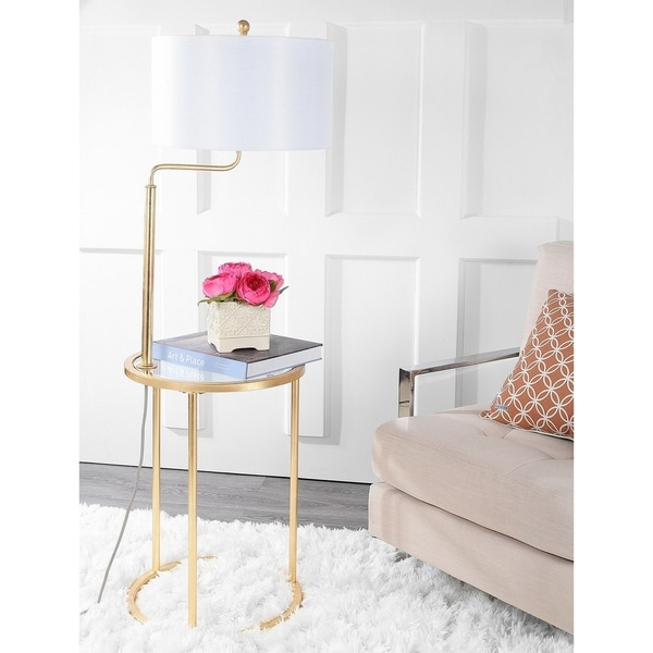 Safavieh Lighting 57-inch Crispin Floor Lamp Side Table - Gold