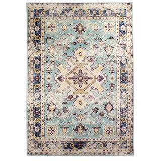 The Curated Nomad Donovan Light Blue Vintage Distressed Area Rug - 5'2 x 7'6
