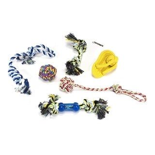 ALEKO Dog Rope Chew Toy with Metal Whistle 7-Pack