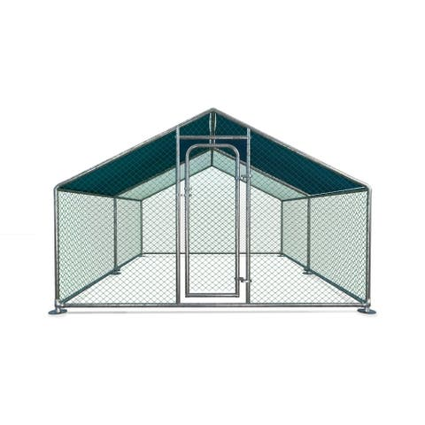 ALEKO Metal DIY Walk-in Chicken Coop Run with Waterproof Cover 13'x10'