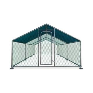 ALEKO Metal DIY Walk-in Chicken Coop Run with Waterproof Cover 20'x10'