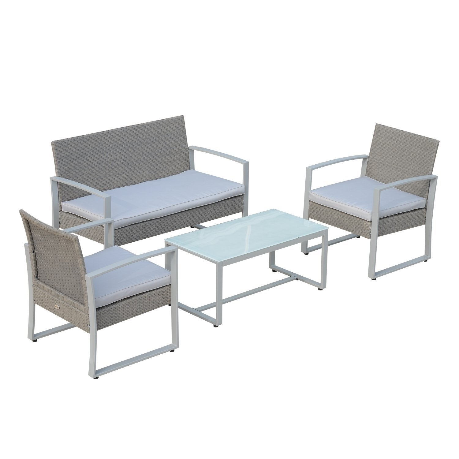 Tremendous Outsunny Grey Rattan Wicker 4 Piece Cushioned Outdoor Chair And Loveseat Furniture Set Lamtechconsult Wood Chair Design Ideas Lamtechconsultcom