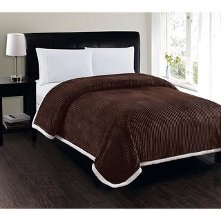 Elegant Comfort Super Soft Heavy Weight Stripe Micro-Sherpa Blanket