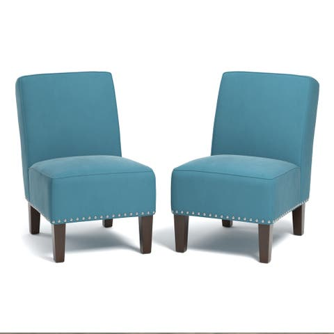 Copper Grove Couvin Armless Chairs in Turquoise Blue Velvet (Set of 2)