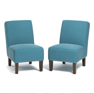 Handy Living Brodee Armless Chairs In Turquoise Blue Velvet Set Of 2