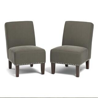 Handy Living Brodee Armless Chairs in Mink Grey Velvet (Set of 2)