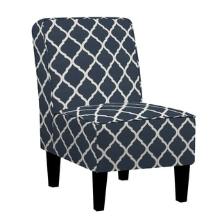 Copper Grove Couvin Armless Chair in Navy Blue Trellis