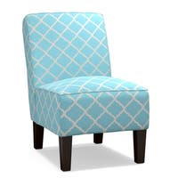 Handy Living Brodee Armless Chair in Turquoise Blue Trellis