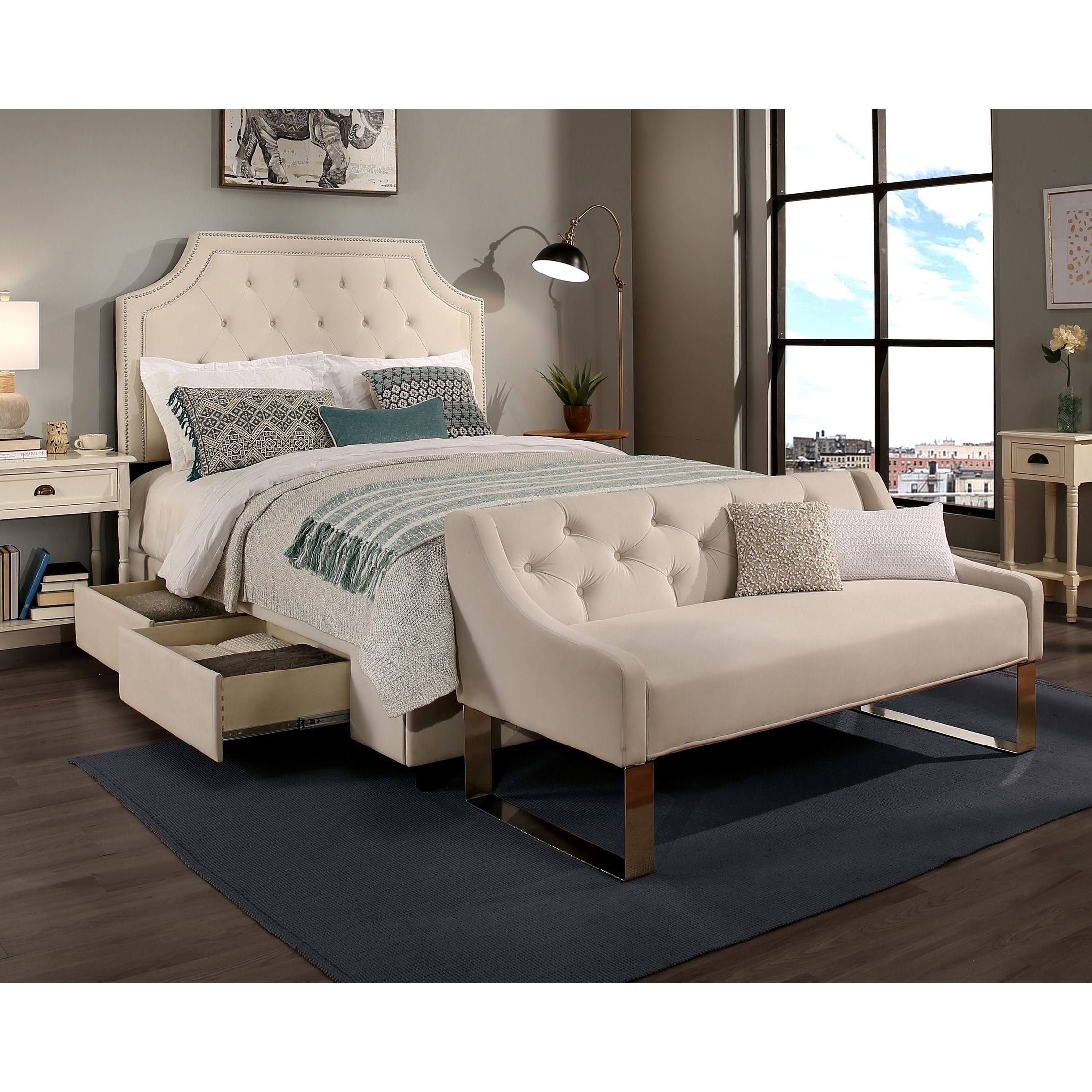 Republic Design House Steel Core Audrey Storage Bed With Tufted Sofa Bench Overstock 22250520