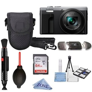 Panasonic Lumix DMC-ZS60 Digital Camera (Black) + 64GB + Case bundle Kit