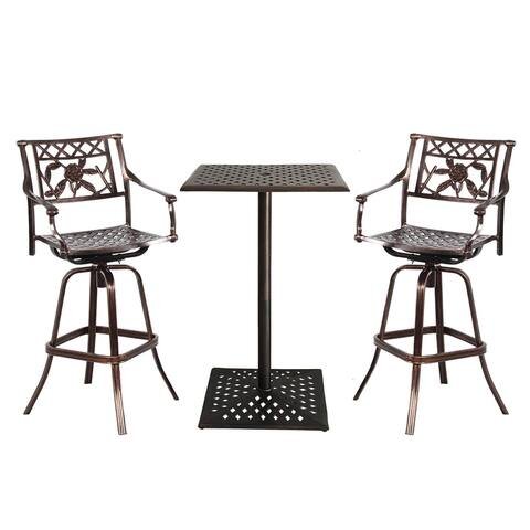 Rose Cast Metal 3 Pc. Bar Set with Square Table and 2 Swivel Stools