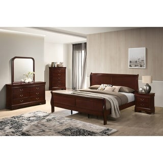 Isola Louis Philippe Style Sleigh Bedroom Set, Bed, Dresser, Mirror, Night Stand and Chest, Cherry Finish