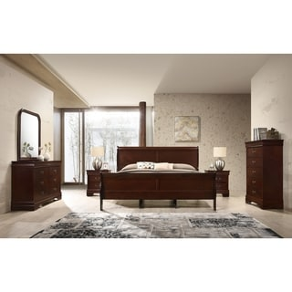 Isola Louis Philippe Style Sleigh Bedroom Set, Bed, Dresser, Mirror, 2 Night Stands and Chest, Cherry Finish