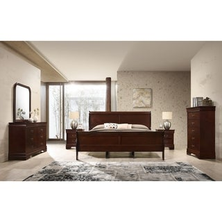 Isola Louis Philippe Style Sleigh Bedroom Set, Bed, Dresser, Mirror, 2 Night