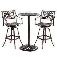 Grace Cast Metal Bar 3 Pc. Set with Table and 2 Swivel Bar Stools