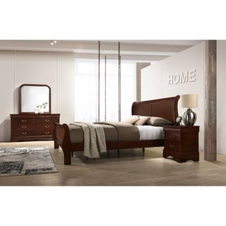 Isola Louis Philippe Style Sleigh Bedroom Set, Bed, Dresser, Mirror and Night Stand, Cherry Finish