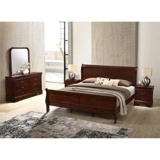 Isola Louis Philippe Style Sleigh Bedroom Set, Bed, Dresser, Mirror and Two Night Stands, Cherry Finish