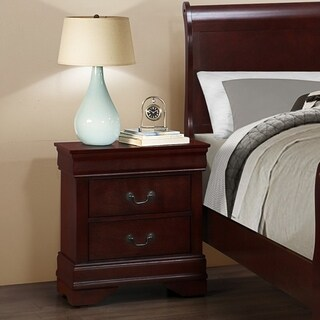 Isola Louis Philippe Style Fully Assembled Wood Night Stand, Cherry Finish