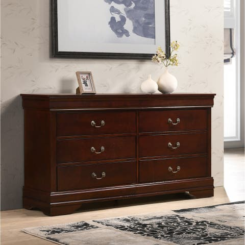 Isola Louis Philippe Style Fully Assembled Wood Dresser, Cherry Finish
