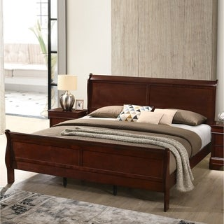 Isola Louis Philippe Style Wood Sleigh Bed, Cherry Finish